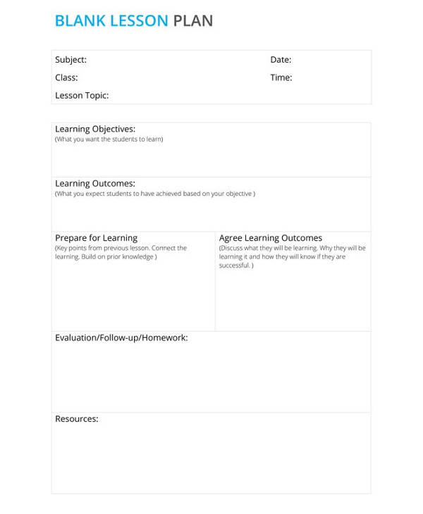 lesson plans blank template