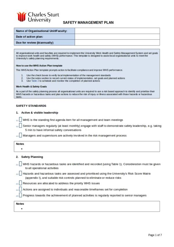 13 + Health and Safety Plan Templates - PDF, Google Docs, MS Word