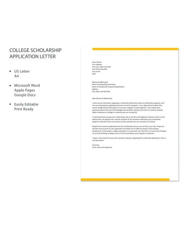 10+ Sample Scholarship Application Letters - PDF, DOC