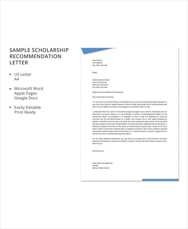 30+ Sample Letters of Recommendation for Scholarship - PDF, DOC