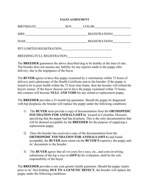 11+ Puppy Sales Contract Template - PDF, Word
