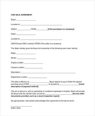 9+ Auto Sales Contract Template - PDF