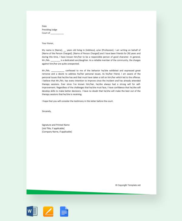 11+ Character Letter Templates For Court - PDF, Word