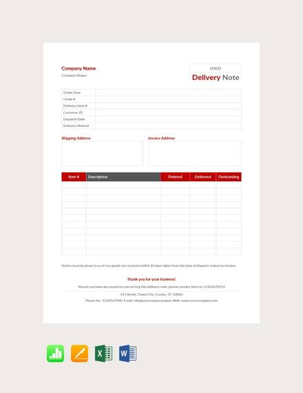 25+ Sample Delivery Note Templates - PDF, DOC, Excel