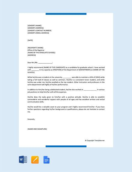 letter of recommendation for graduate program