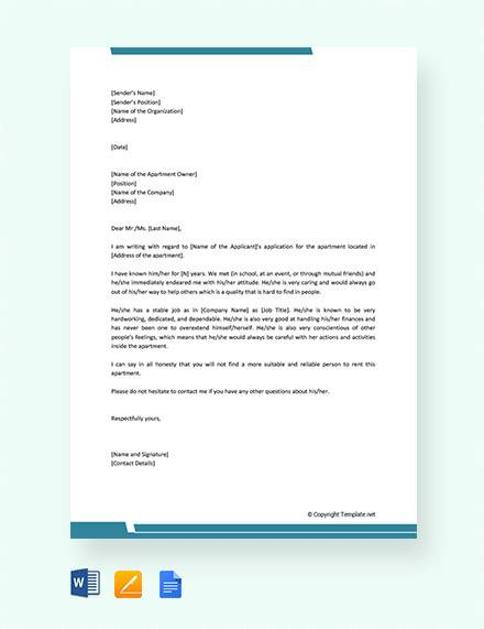 8+ Sample Reference Letters for Apartment - PDF, DOC