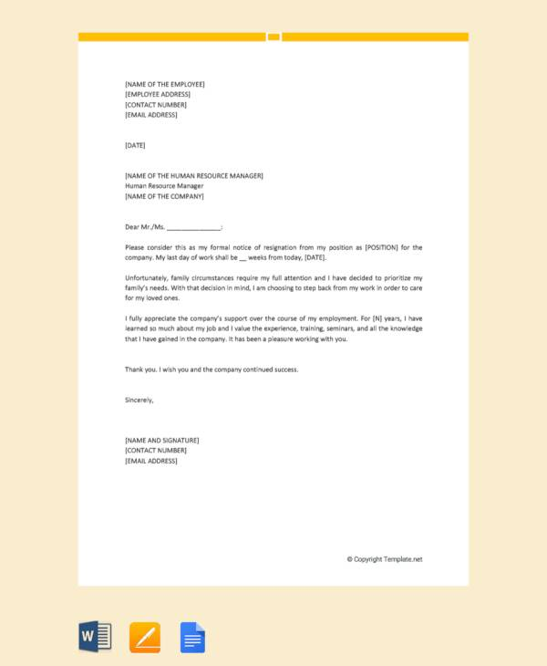 Resignation Letter Sample Doc Family Reason - Resume ...