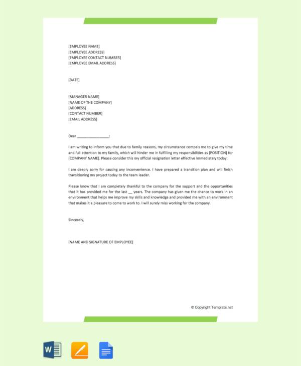 10+ Sample Resignation Letter for Family Reasons - DOC, Apple Pages