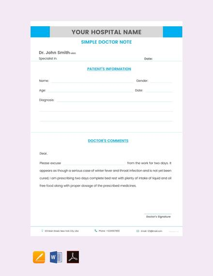 33+ Doctors Note Samples - PDF, Word, Pages