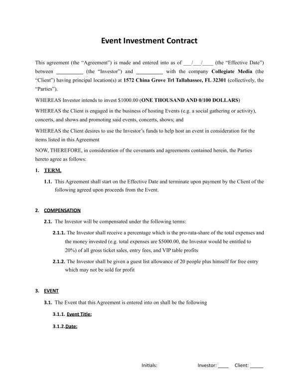 14+ Simple Investment Contract Template - PDF