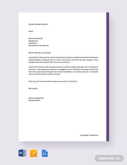 retirement resignation letter sample - Pinarkubkireklamowe