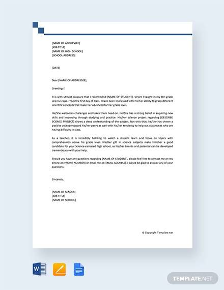 Sample Recommendation Letter for High School Student - 9+ Examples