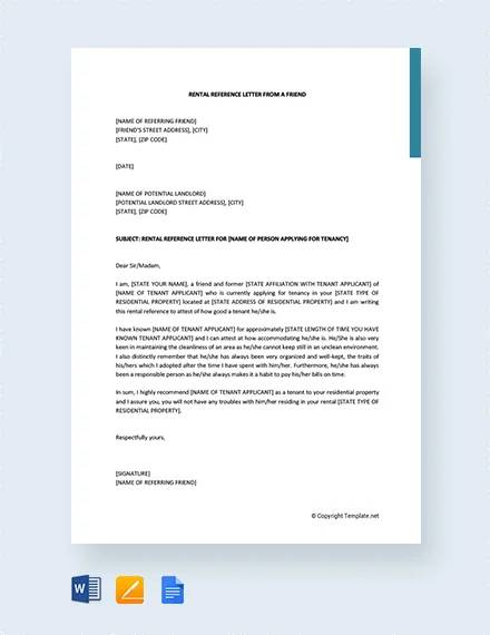reference letter for tenant from employer