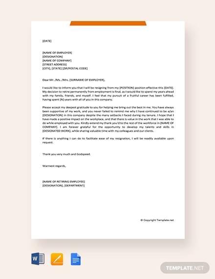Sample Retirement Resignation Letter - 9+ Documents in PDF, Word