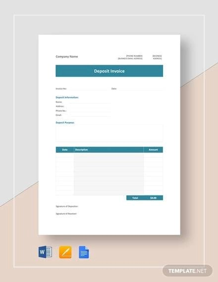 5+ Deposit Invoice Templates - Free Word, PDF Format Download