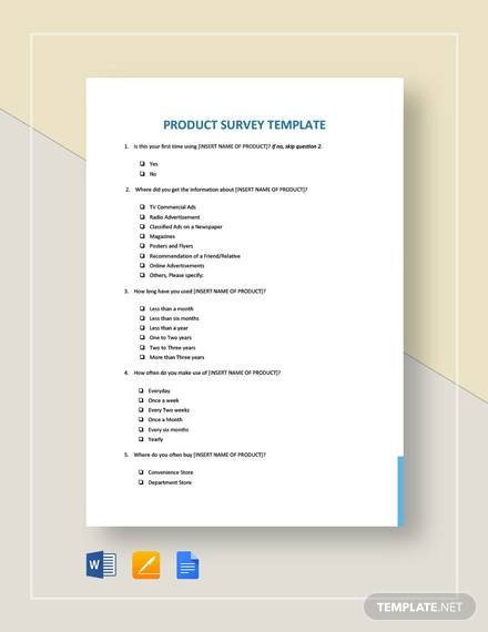 Sample Product Survey Template - 5+ Free Documents in Word, PDF