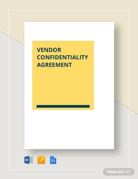 Sample Vendor Confidentiality Agreement - 7+ Documents in PDF, Word
