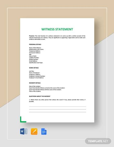 Sample Witness Statement - 12+ Documents in PDF, Word