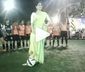 આ ક્રિકેટરની પત્ની સાડી પહેરી ફૂટબોલ રમવાં પહોંચી, જુઓ વિડીયો
