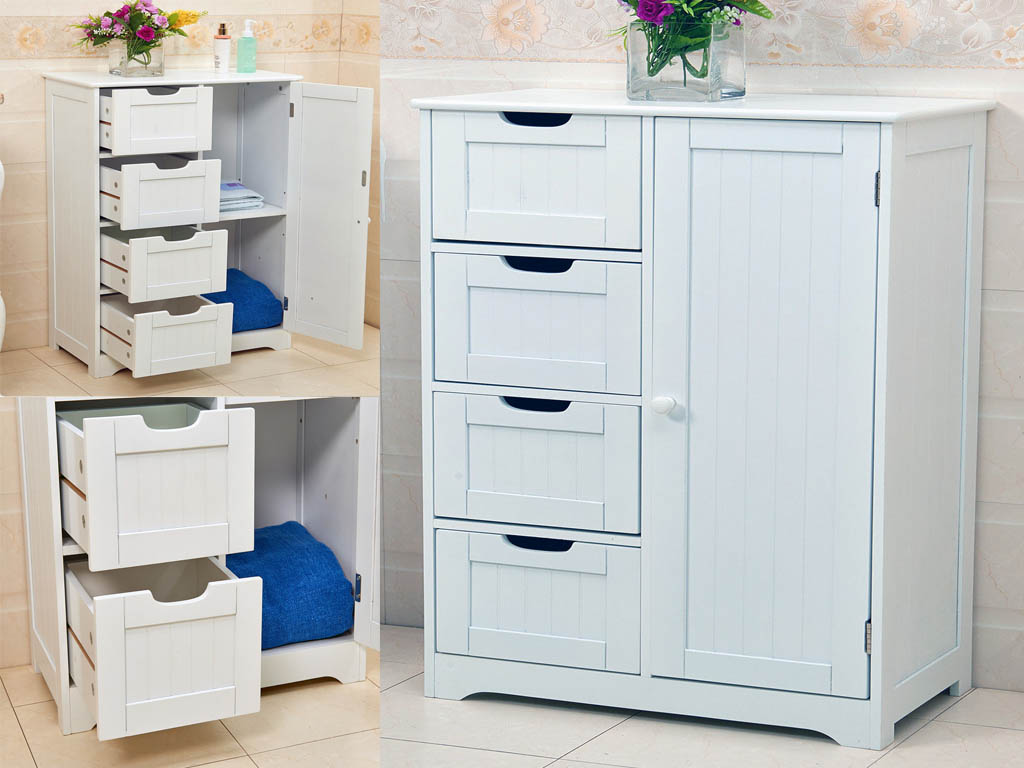 Bathroom Drawers New White Wooden Cabinet With 4 Drawers And Cupboard Storage