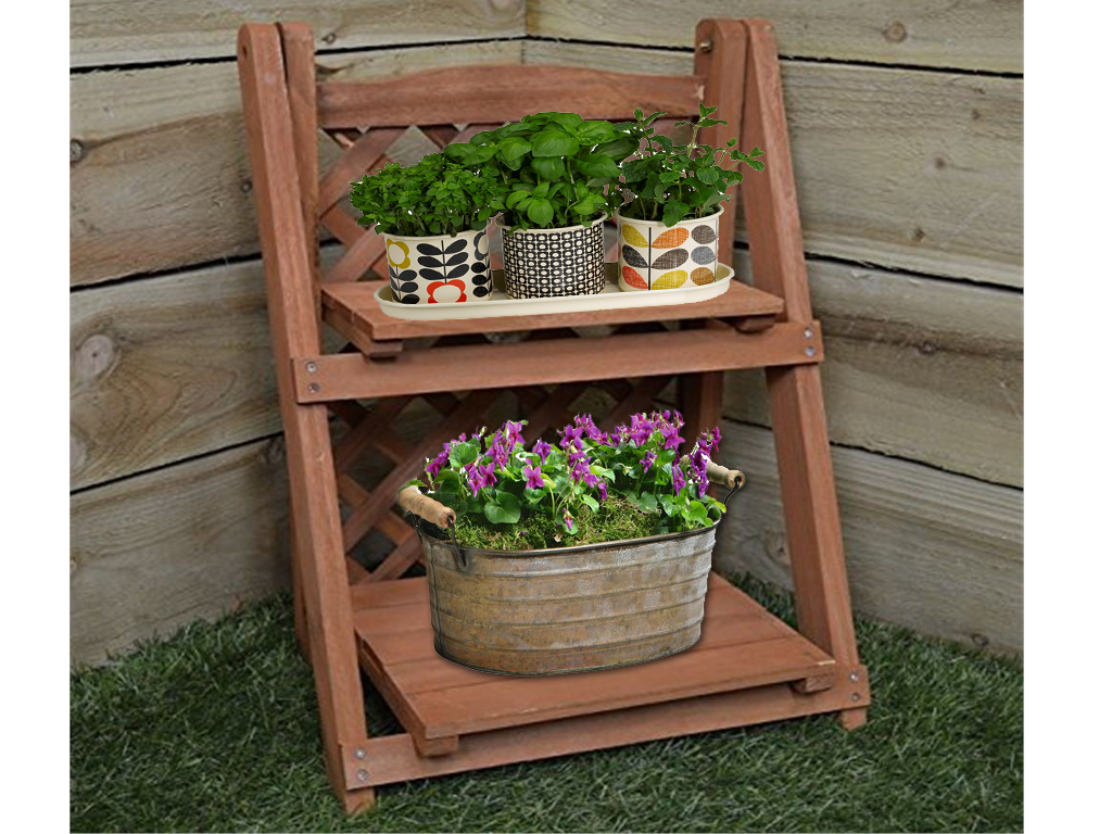 Herb Planter Pot 2 Tier Wooden Pot Plant Planter Shelf Flower Herb Shelves