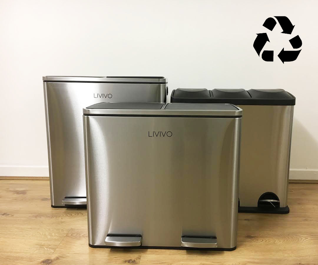 Stainless Steel Recycling Bins Details About Livivo 2 3 Compartment Stainless Steel Recycle Waste Tidy Recycling Pedal Bin