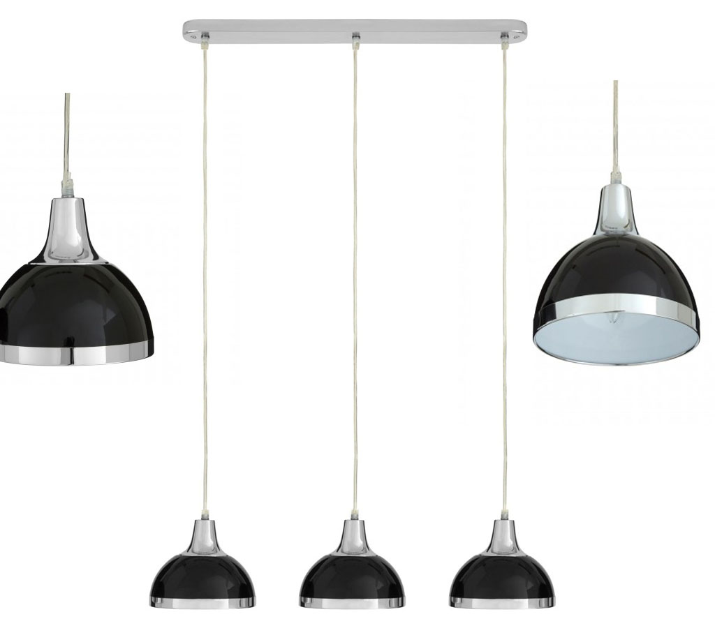Pendant Bar Lighting 3 Bar Pendant Light Hanging Chrome Effect 3 Way Mounted