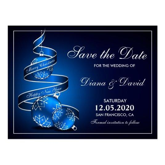 Christmas Wedding Save The Date In Blue Silver \u2013 Save the Date Cards