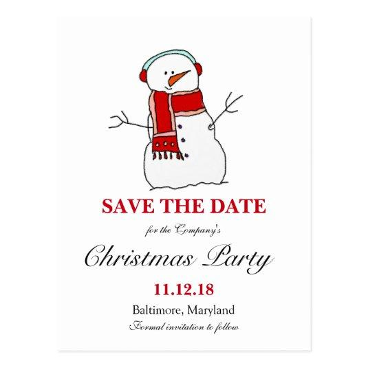 Holiday Snowman Christmas Party \u2013 Save the Date Cards
