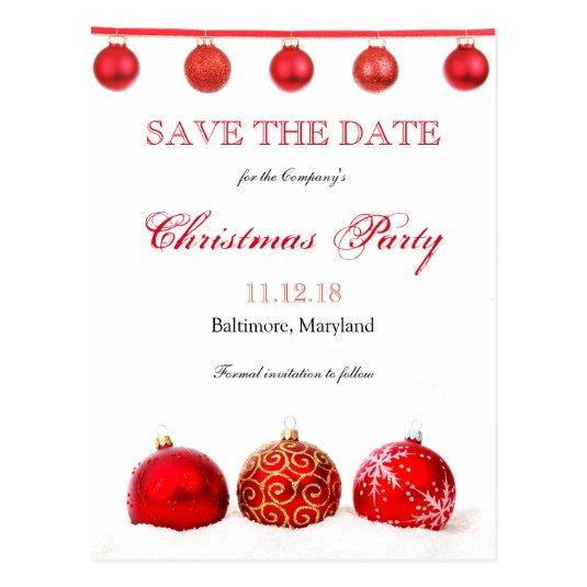 Modern Red Ornaments Save The Date Christmas Party \u2013 Save the Date Cards