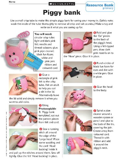 How To Make A Calendar Ks2 1000s Of Primary Teaching Resources Teachit Primary Make A Piggy Bank – Primary Ks2 Teaching Resource Scholastic
