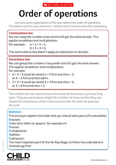 Reference Definition Of Reference By Merriam Webster Maths – Order Of Operations Fact Sheet – Primary Ks2