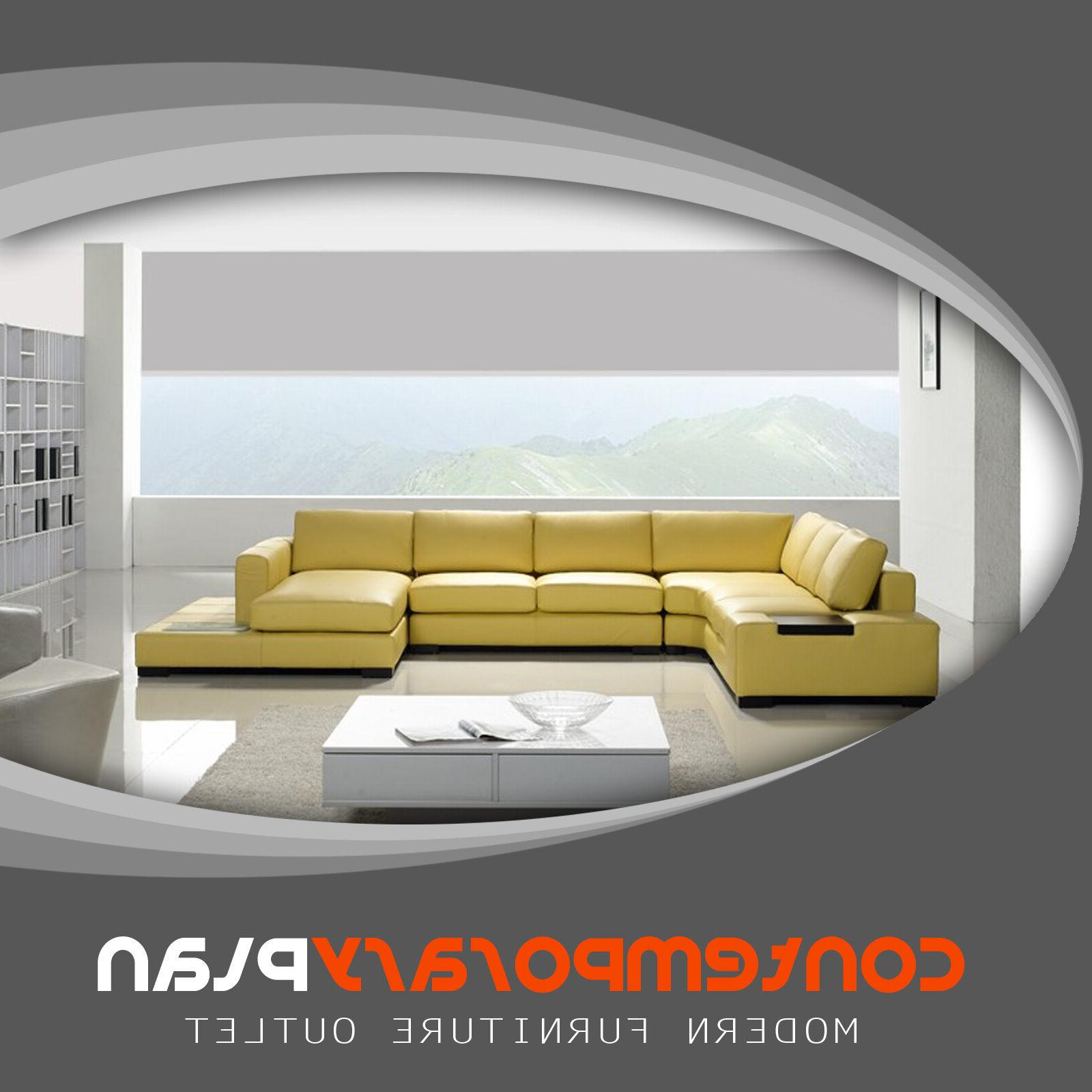 Contemporary Mustard Yellow Leather Sectional Sofa With Built
