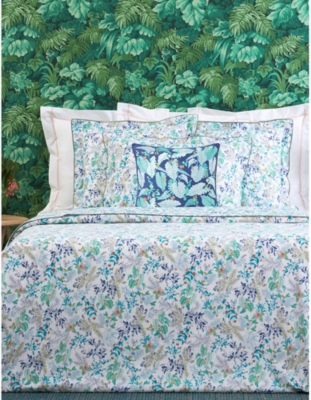 Bettwaren Wäsche Matratzen France Yves Delorme Ginkgo Cotton Percale Flat Sheet In Foliage Pattern Möbel Wohnen Bettwaren Wäsche Matratzen