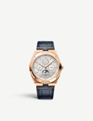 Leather Strap Rose Gold Watch Overseas Ultra Thin Perpetual Calendar Rose Gold And Leather Strap Watch