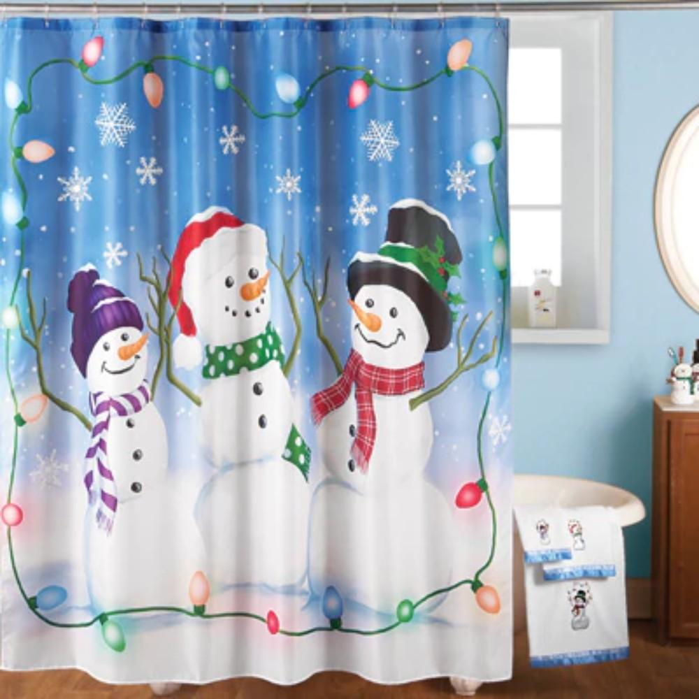 Country Snowman Fabric Christmas Bathroom Shower Curtain