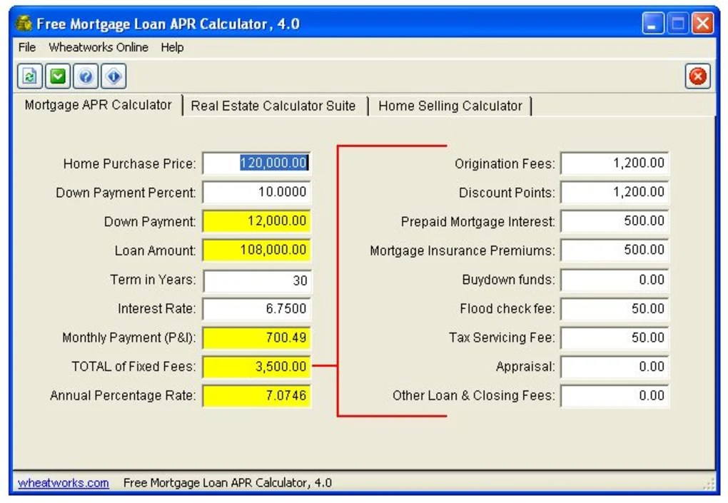 Free Mortgage Loan APR Calculator - Download