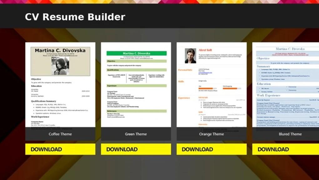 CV Resume Builder - Download - Resume Builder Software Download