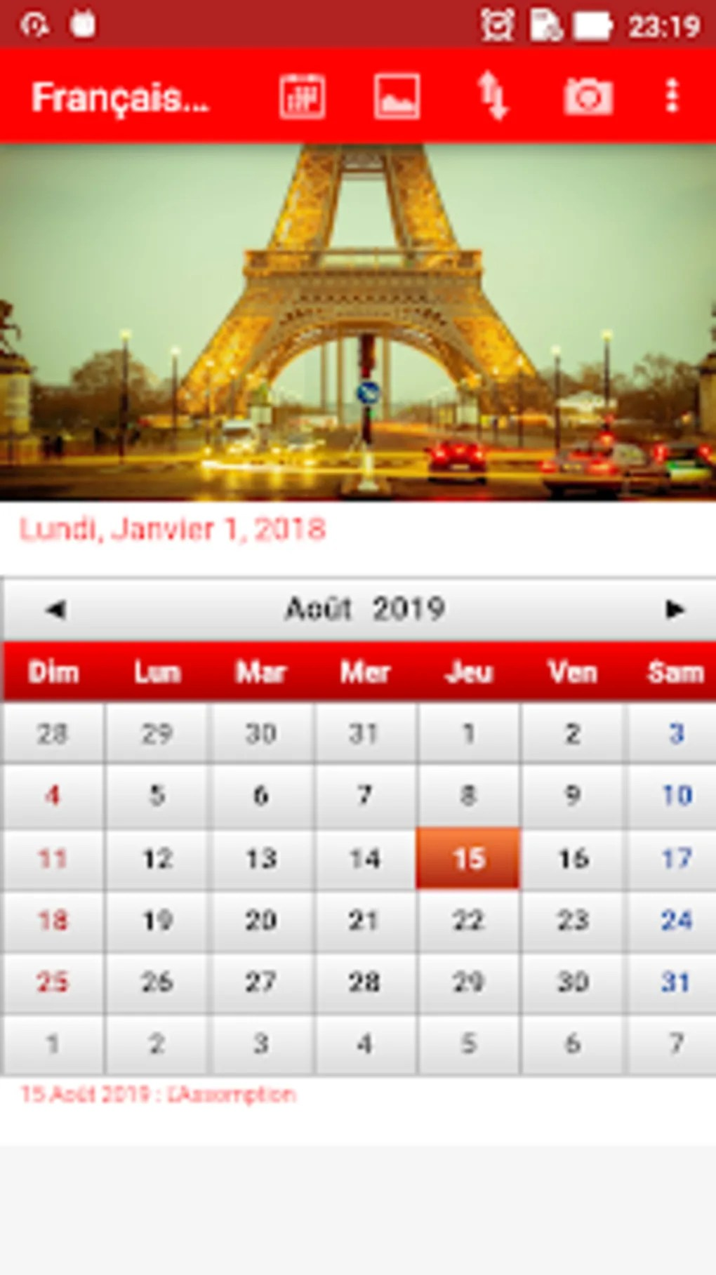 Free Calendrier Français Calendrier 2019 For Android Download