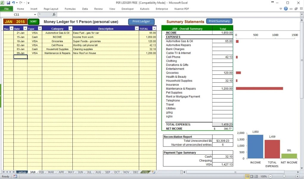 Free Bookkeeping Ledger for Personal Use - Download