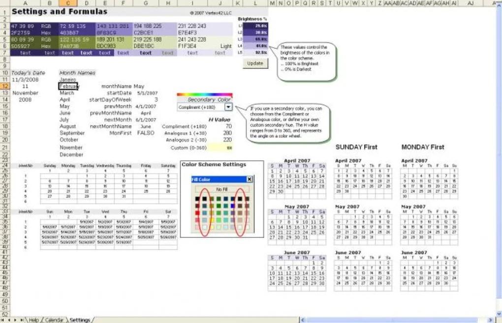 Excel Calendar Template - Download