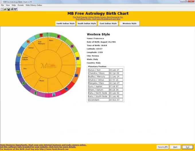 MB Free Astrology Birth Chart - Download - Free Chart