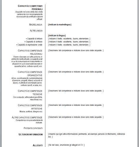 Curriculum Vitae Da Compilare Curriculum Vitae Europeo Da Compilare Guida E Modello Curriculum Vitae Europeo Da Compilare Download
