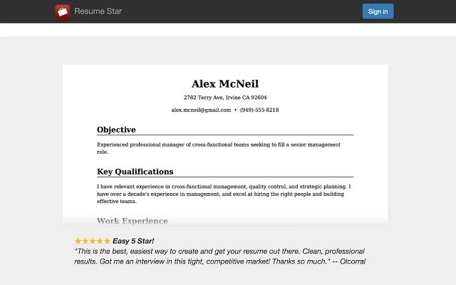 resume star online