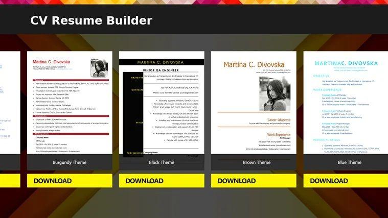 free resume builder app for windows 8
