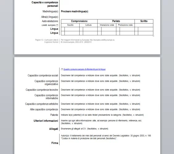 Cv Templates And Guidelines Europass Curriculum Vitae Europass Download