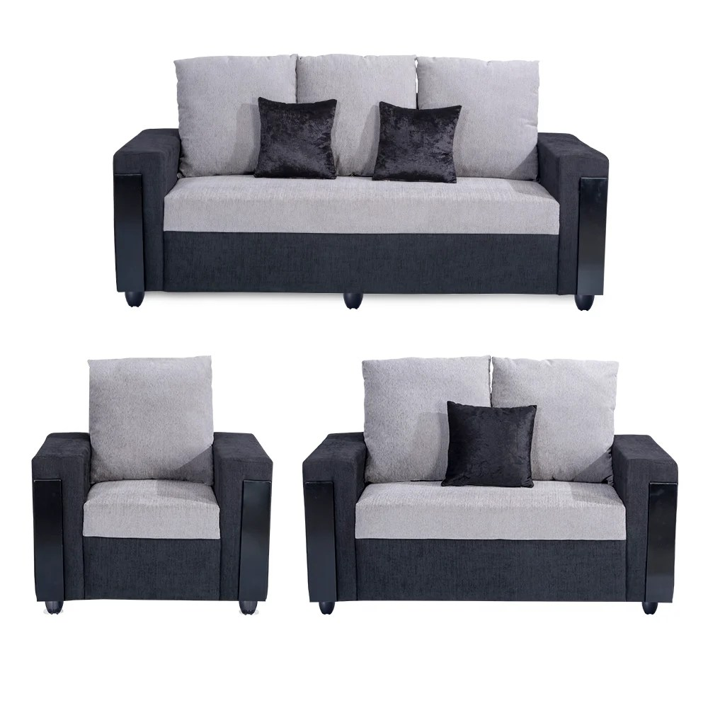 Sofa Set Online Bharat Lifestyle Ocea Fabric 3 2 1 Black Grey Sofa Set
