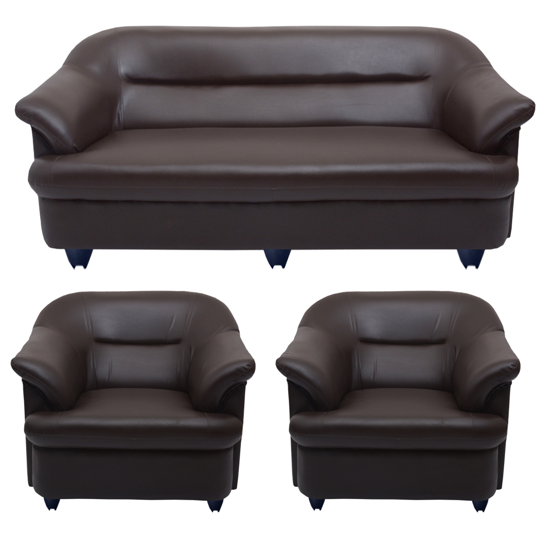 Sofa Set Online Bharat Lifestyle Sagittarius Leatherette 3 1 1 Brown Sofa Set