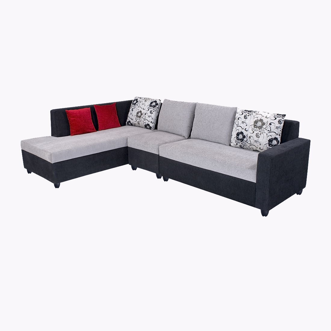 Sofa L Images Bharat Lifestyle Nano L Shape Fabric Sofa Set Black Grey 2 1 D Left Facing