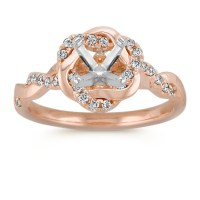 Infinity Rose Gold Engagement Ring with Diamond Twist Halo ...